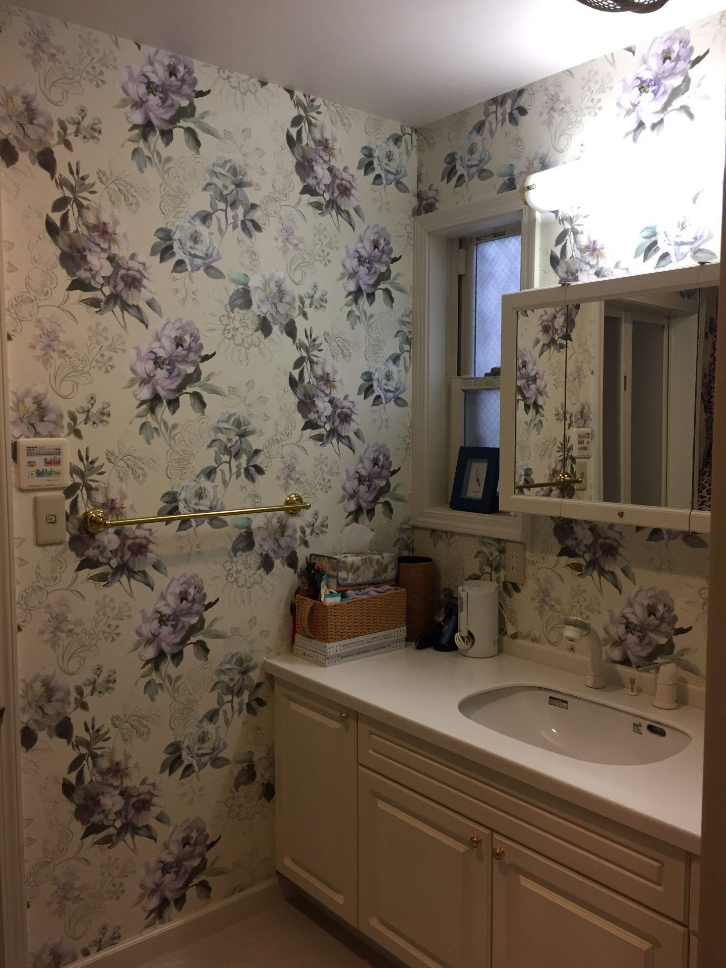 施工例 洗面室 トイレ 和室のクロス選び リサブレア 神戸のインテリアデザインショップ